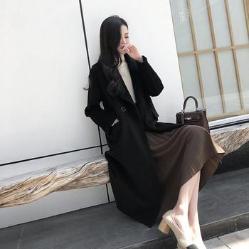 Дамско палто дълъг и широк  модел в бежов и черен цвят