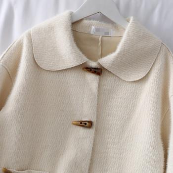 Модерно дамско късо палто с копчета и джоб в розов,бял и зелен цвят