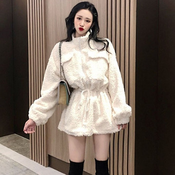 Дамско пухено зимно палто дълъг модел в бял и черен  цвят
