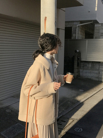 Дамско зимно  пухено палто с копчета в три цвята
