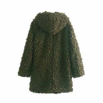 Модерно дълго пухено палто в зелен цвят