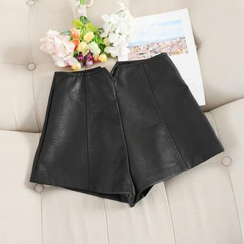 Дамски кожени панталони с висока талия в три цвята