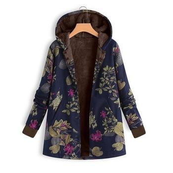 Casual γυναικείο μπουφάν με κουκούλα και floral μοτίβο σε διάφορα χρώματα