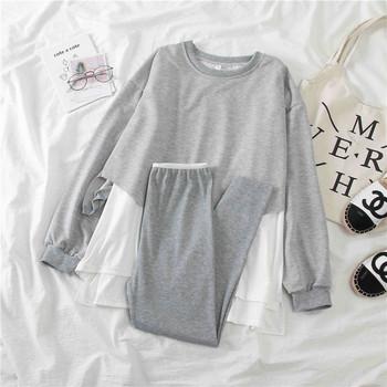 Спортен дамски комплект от блуза и клин в сив и черен цвят