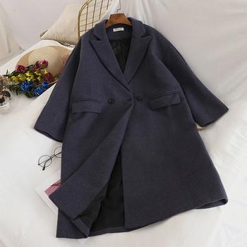 Ежедневно дамско палто с V-образна яка в четири цвята