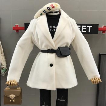 Стилно дамско късо палто с колан в три цвята