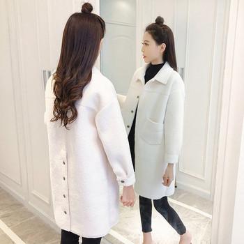 Ежедневно дамско палто с копчета в бял,бежов и розов цвят