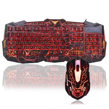 Комплект геймърска клавиатура и мишка със светодиодна подсветка