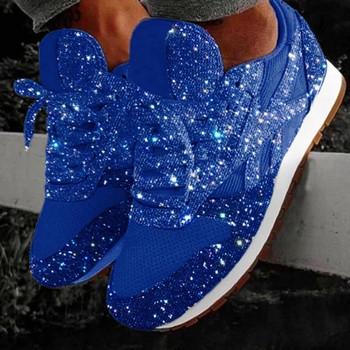 Νέο μοντέλο γυναικεία αθλητικά παπούτσια με κορδόνια και γυαλιστερό αποτέλεσμα σε έξι χρώματα