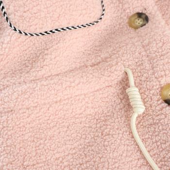 Модерно дамско палто с връзки и копчета в розов и бежов цвят