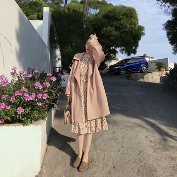 Дамско дълго пролетно-есенно палто без закопчаване