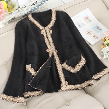 Модерно дамско палто с копчета в бял и черен цвят
