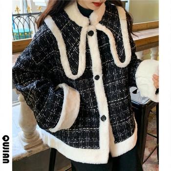 Модерно дамско палто с копчета в черен цвят
