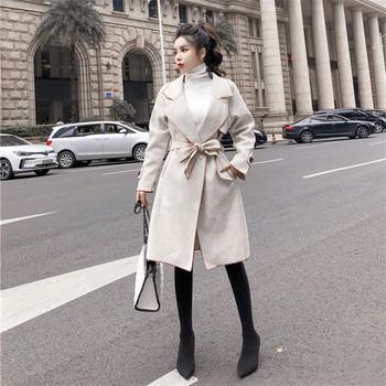 Дълго пролетно-есенно палто с колан и джобове