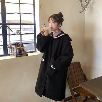 Дамско дълго палто в два цвята с джобове