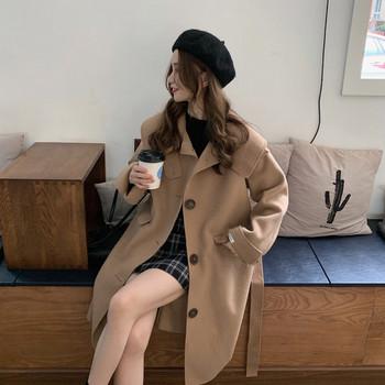 Актуално дамско дълго палто в два цвята широк модел
