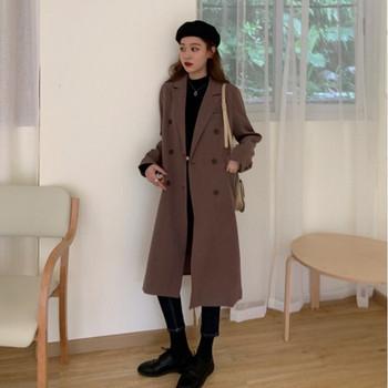 Актуално дамско дълго палто в син и кафяв цвят