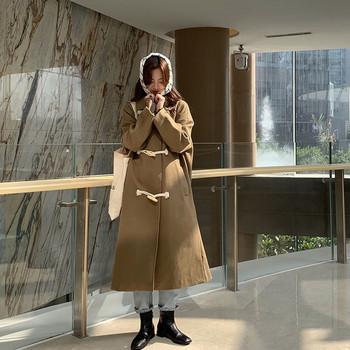 Дамско актуално дълго палто в два цвята широк модел