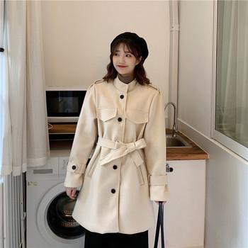 Дамско актуално дълго палто в два цвята с колан