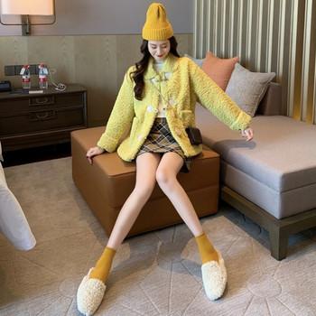 Дамско пухено палто в жълт, зелен и бежов цвят
