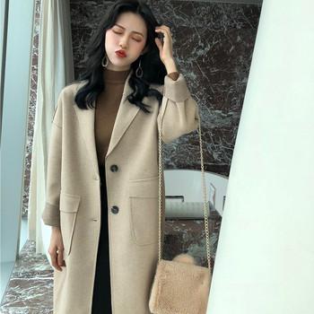 Дълго пролетно-есенно палто в бежов цвят  - широк модел