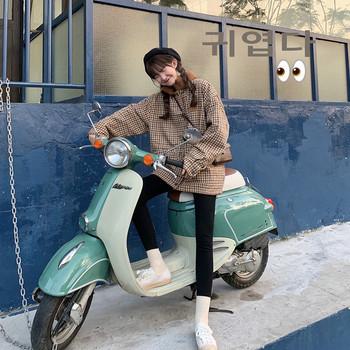 Ежедневно дамско тънко карирано палто в два цвята