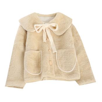 Късо дамско палто палто с панделка и копчета в няколко цвята