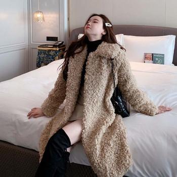 Модерно дълго пухено палто в бежов цвят