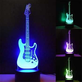 3D лампа във формата на китара с променящи се цветове