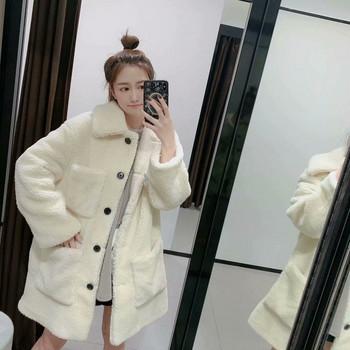 Дълго бежово пухено палто с джобове и копчета
