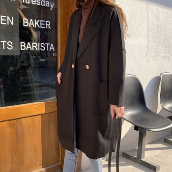 Дълго пролетно-есенно палто в три цвята - широк модел