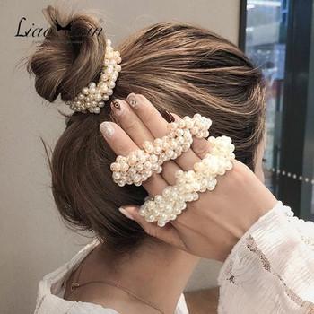 Модерен ластик за коса с перли