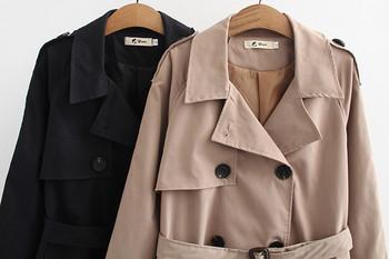 Модерно дамско дълго палто с копчета и джобове в бежов и черен цвят