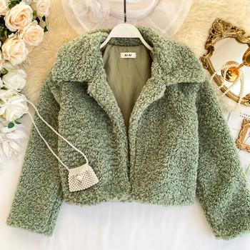 Късо дамско пухено палто в няколко цвята
