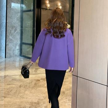 Ежедневно дамско палто с копчета и джоб в лилав цвят