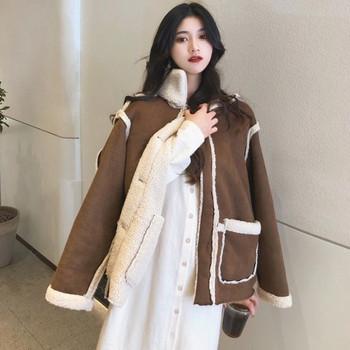 Дамско двулицево палто в кафяв цвят с топла подплата