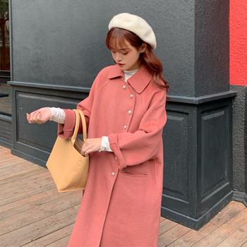Дълго и широко палто в розов и бежов цвят с копчета