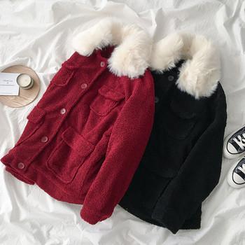 Модерно дамско палто с пух в червен и черен цвят
