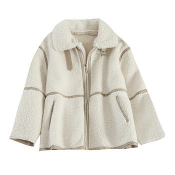 Модерно дамско късо палто с цип и яка в четири цвята