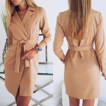 Модерно дамско дълго палто с колан в кафяв цвят