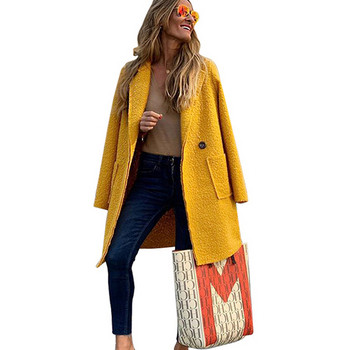 Модерно дамско дълго палто с джобове в жълт цвят