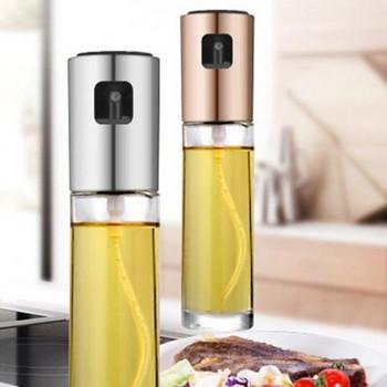 Стъклена бутилка с дозатор в бронзов, сребрист и златист цвят