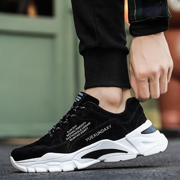 Ανδρικά αθλητικά παπούτσια με κορδόνια σε γκρι, καφέ και μαύρο χρώμα