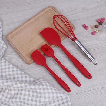 Комплект от десет броя силиконови кухненски прибори в червен, зелен, син и черен цвят