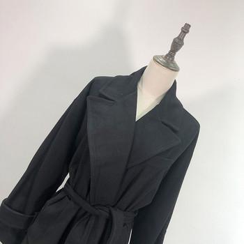 Дълго елегантно палто с колан в черен цвят