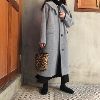 Дамско модерно дълго палто в кафяв и сив цвят