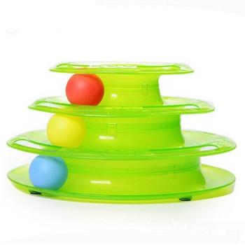 Интерактивна пластмасова играчка с топчета за котки в зелен и оранжев цвят