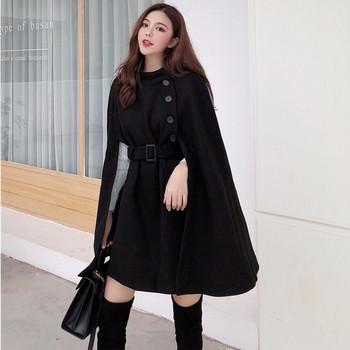 Дамско елегантно палто с колан в бежов и черен цвят