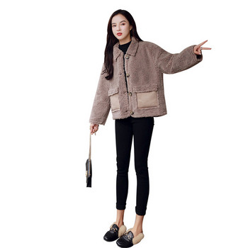 Нов модел модерно дамско палто с копчета и джобове