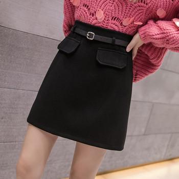 Актуална дамска къса пола с колан в сив,кафяв и черен цвят
